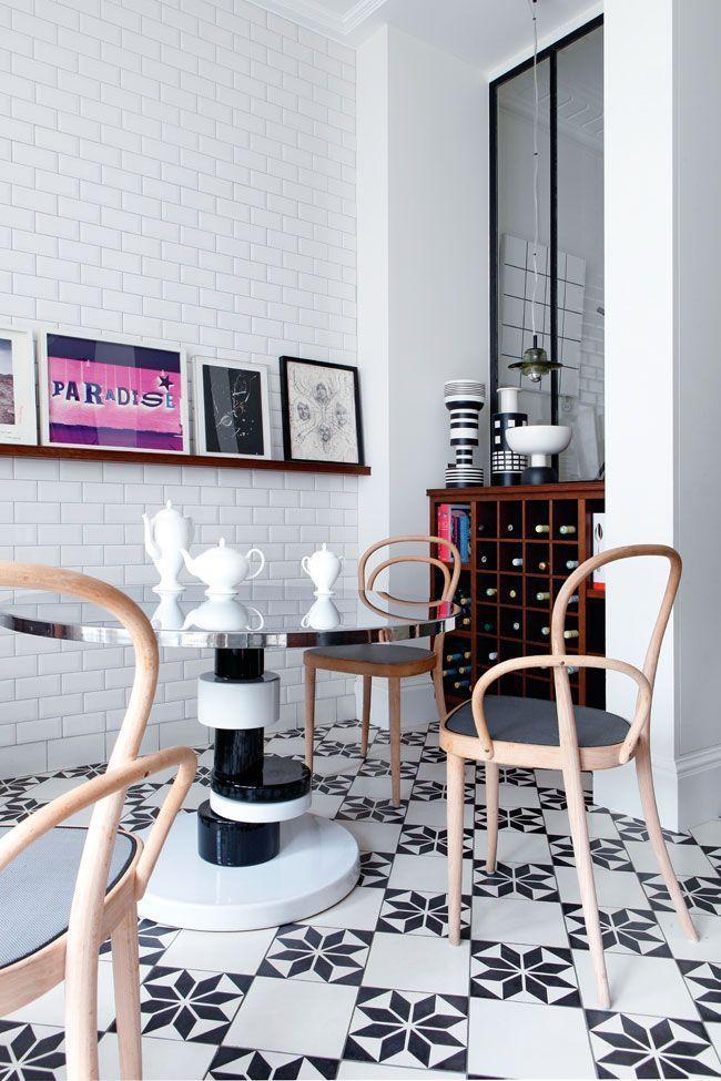 Booster sa déco avec des carreaux de ciment || L'appartement parisien de l'architecte Sandra Benhamou