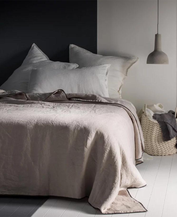 Couvre lit matelassé en lin Blanc Cerise