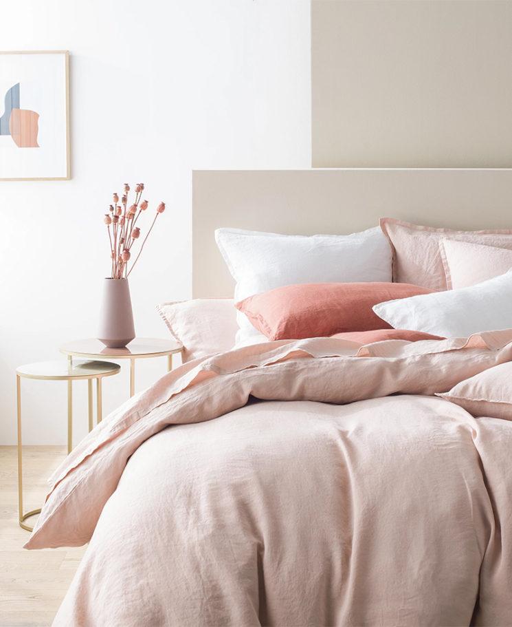 Le linge de lit en lin - Ensemble housse de couette rêve de lin bois de rose