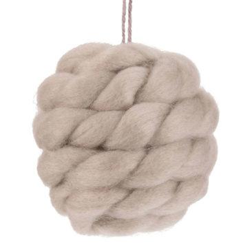 Maisons du Monde - Boule de Noël en laine tressée taupe
