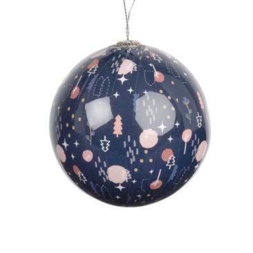 Maisons du Monde - Boule de Noël en papier bleu imprimé graphique