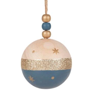 Maisons du Monde - Boule de Noël en pin bicolore imprimé doré