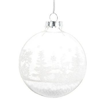 Maisons du Monde - Boule de Noël en verre motif forêt enneigée