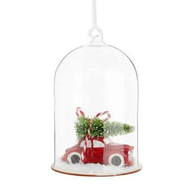 Maisons du Monde - Suspension de Noël voiture et sapin sous cloche en verre