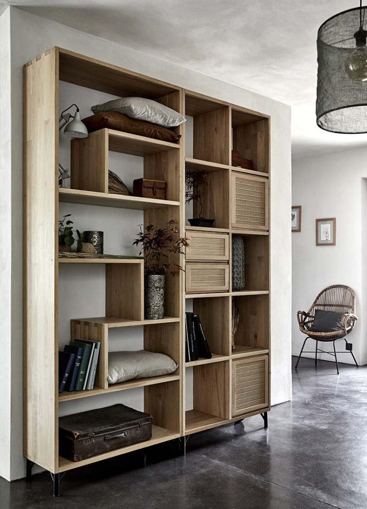 Alinea - Système d'étagères en chêne, Tassia avec tiroirs ou portes à intégrer en fonction de ses besoins