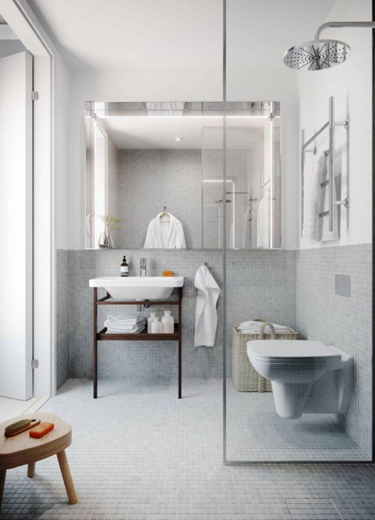 Pour une salle de bains scandinave monochrome