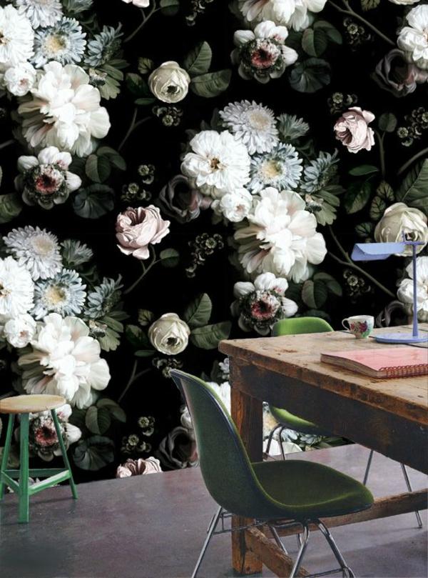 les papiers peints dark floral par ellie cashman. Black Bedroom Furniture Sets. Home Design Ideas