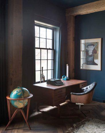 On réchauffe les bleus foncés de tons bruns et chauds || Jennifer Bunsa - Hudson house