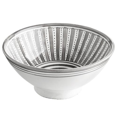 Saladier marocain en céramique avec motif rayé gris Tine K Home