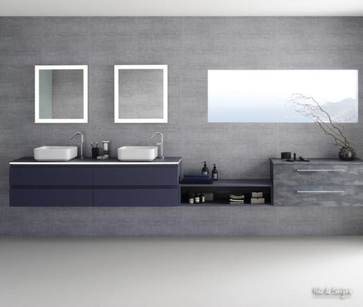Une salle de bain de style bord de mer || Meuble de salle de bain Halo, galaxy soft laque, Sanijura