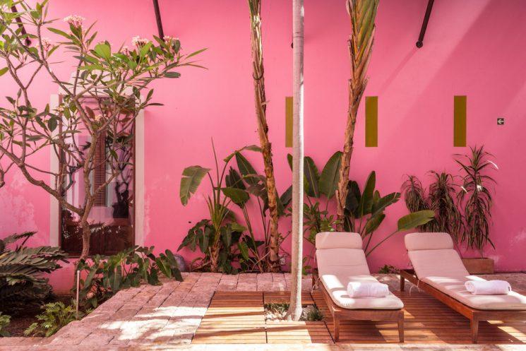 Mur rose vif pour l'hôtel Rosas et Xocolate au Mexique par Cool Hunter