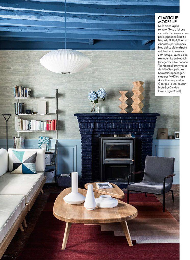 La maison normande de la designer Gesa Hansen qui affiche des poutres bleues