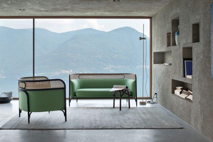 Canapé droit en cannage, Targa, design GamFratesi, Wiener GTV Design