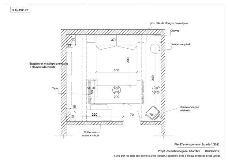 Avec hubstairs un projet déco en quelques clics || Plan de la chambre