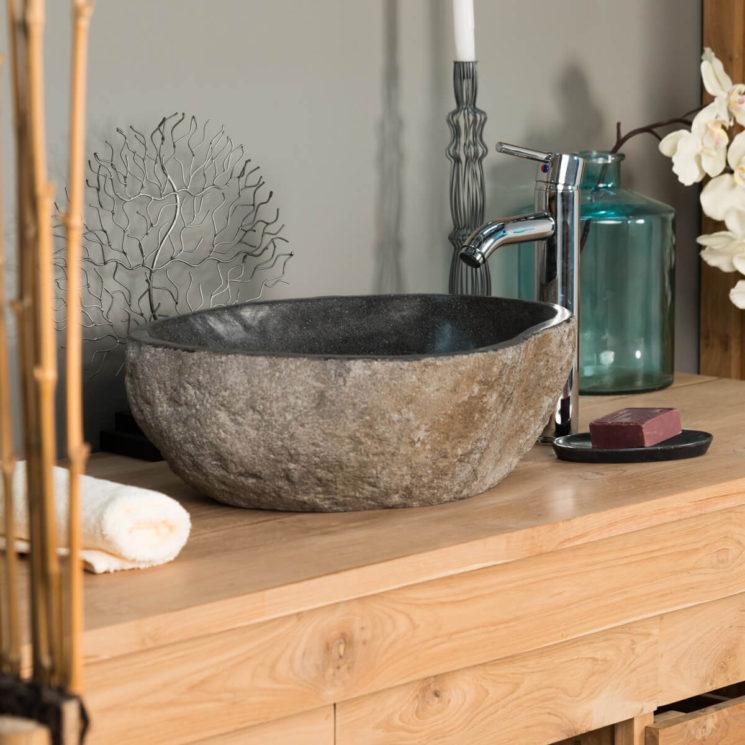 Quelques pistes pour adopter une salle de bain wabi sabi || Vasque à poser en pierre naturelle Wanda Collection