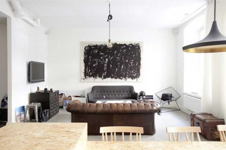 La déco au masculin    Le bon mixe : du mobilier design et industriel