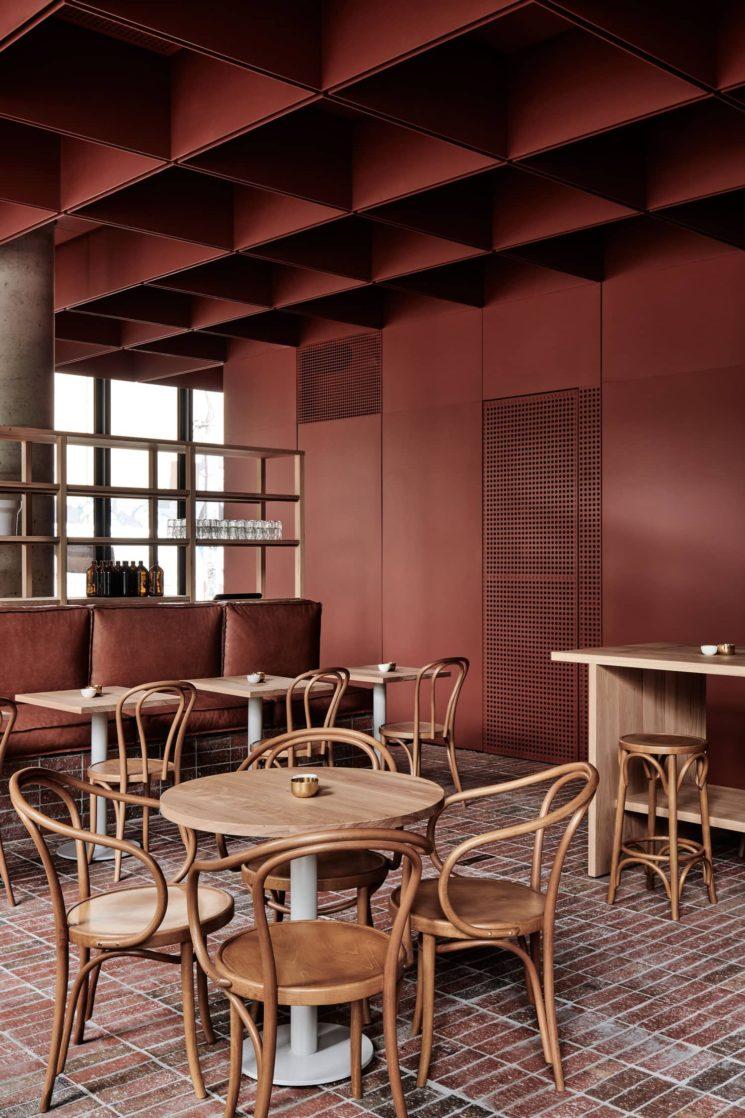 Terracotta mania, le rouge brique est partout    Bentwood Cafe à Fitzroy, Melbourne - Conception :Ritz & Ghougassian