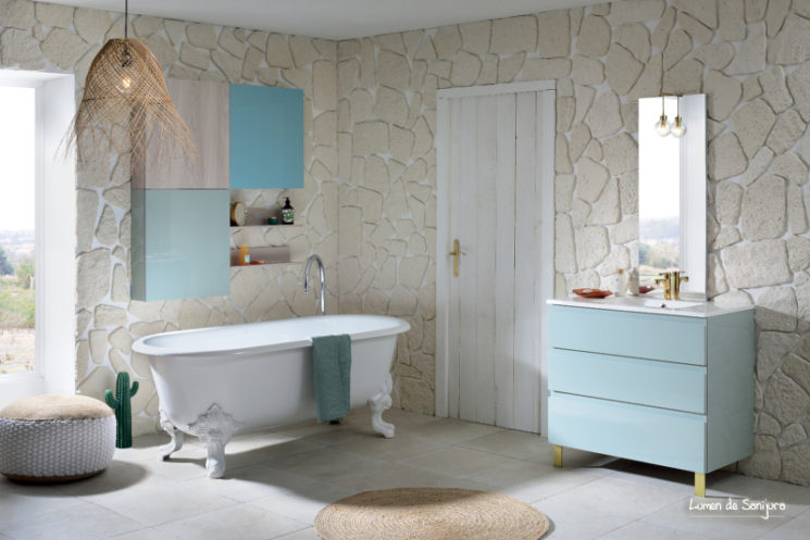 meuble de salle de bain lumen amande laqu sanijura