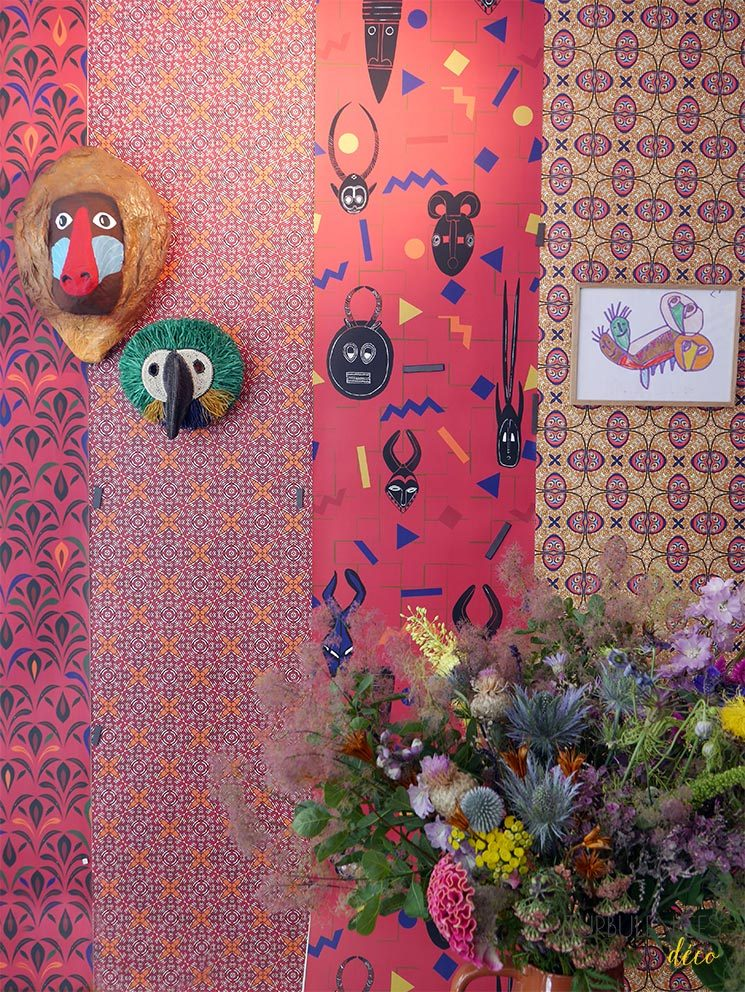 Collection de papiers-peints Sandrine Alouf & Au fil des couleurs, inspirée du wax africain