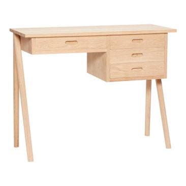 Sélection de petits bureaux en bois design || Bureau 4 tiroirs en chêne, Hübsch