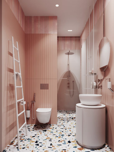 Salle de bain rose terracotta || Salle de bain 3D par MOPS / Stripe