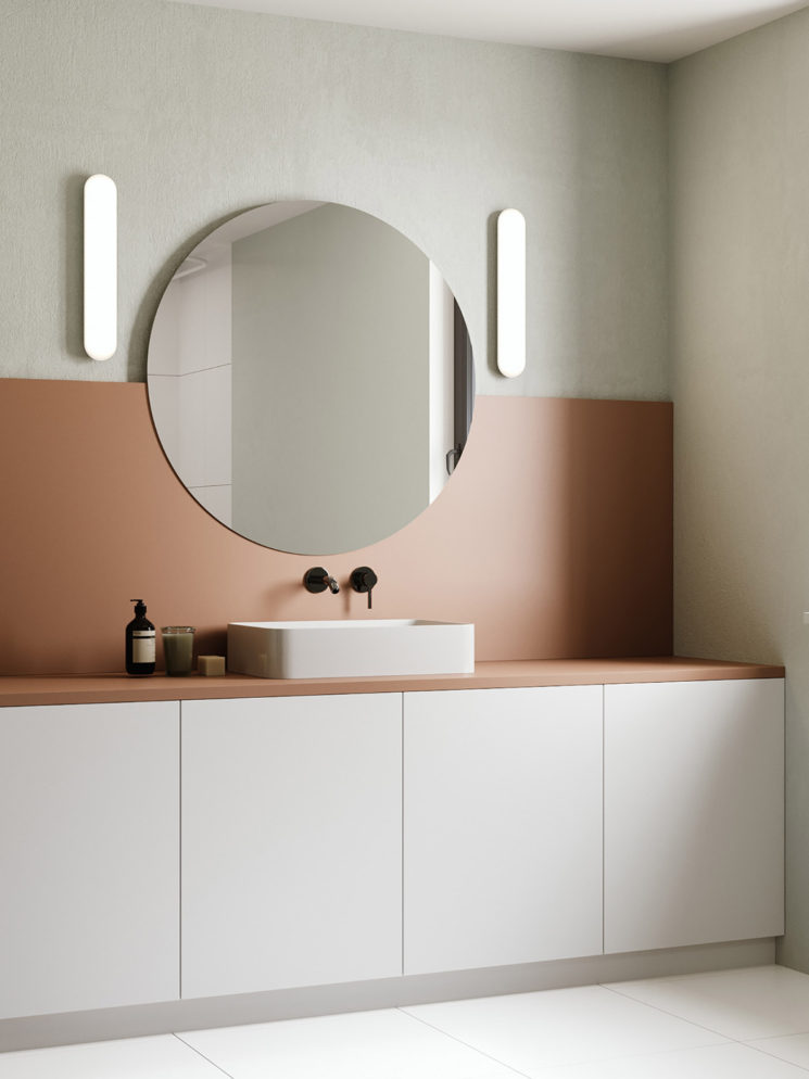 Salle de bain rose terracotta