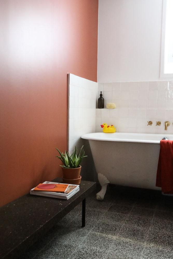 Salle de bain rose terracotta || Un mur terracotta