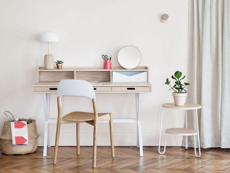 Sélection de petits bureaux en bois design || Sélection de petits bureaux en bois design || Bureau Hyppolite en chêne, design Florence Watine, Hartô