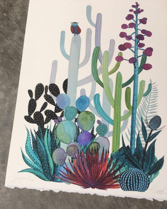 Affiche Saguaros - Boutique Etsy Gennine