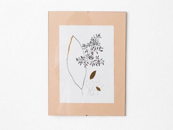 Impression Feuilles d'or botanique - Boutique Etsy Arminho