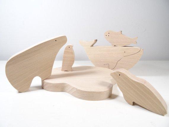 Jouets en bois Animaux polaires - Boutique Etsy Des choses en bois