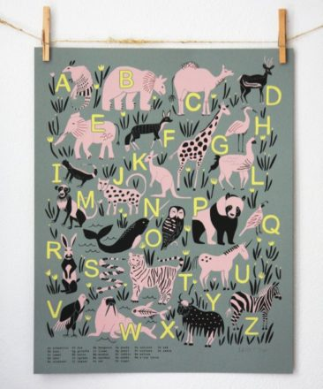 Affiche Abécédaire Animal - Boutique Leah Duncan sur Etsy