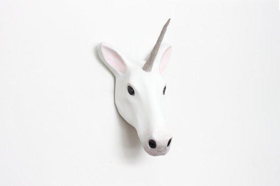 Décor mural en papier mâché, Licorne - Boutique Mache Animal sur Etsy