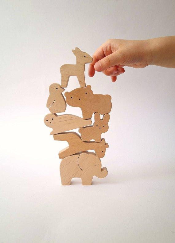 Jouets en bois à empiler, animaux Waldorf - Boutique Mielasiela sur Etsy
