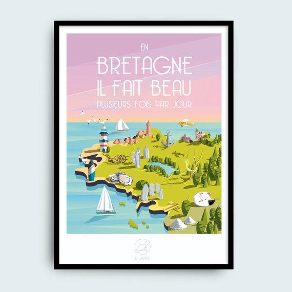 Affiche En Bretagne, il fait toujours beau - Boutique Etsy Patte de loutre