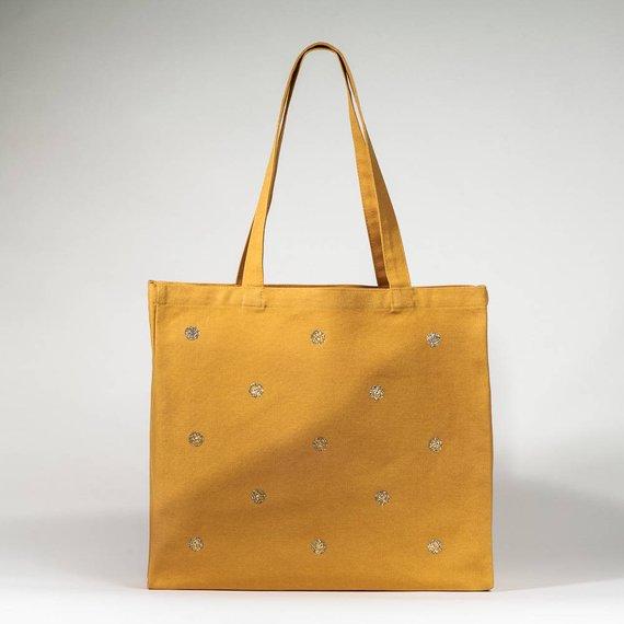 Sac cabas moutarde à pois dorés - Boutique Etsy Petite Mila