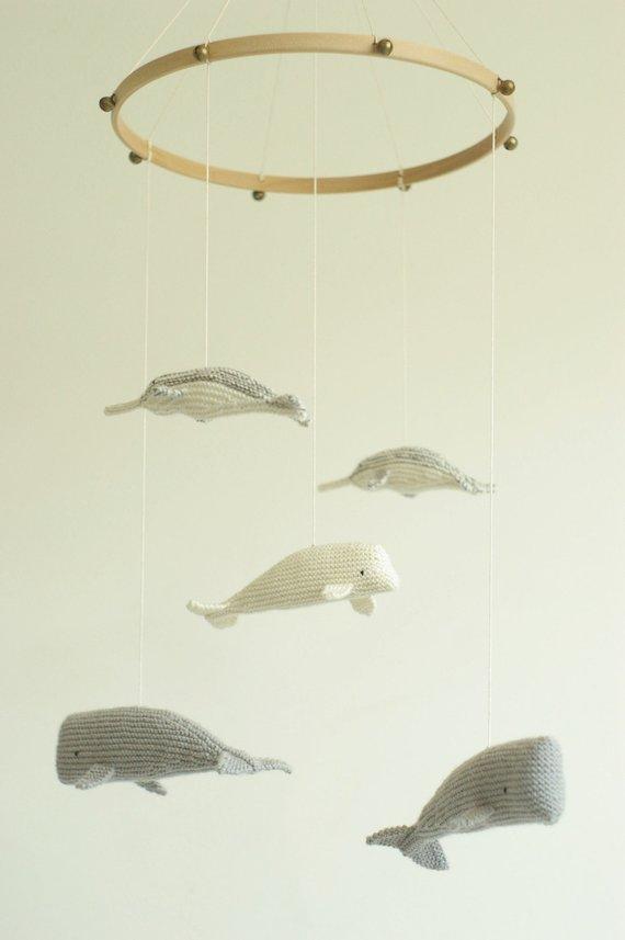 Mobile pour bébé, animaux de la mer au crochet - Boutique Utatata Studio sur Etsy