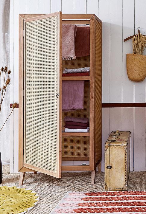Une jolie collab Billie Blanket et La Redoute Intérieurs // Armoire lingère ou sèche-linge en cannage