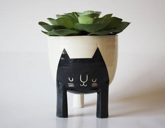 Petit pot trépied en céramique, chat - Boutique Etsy Beard Bangs