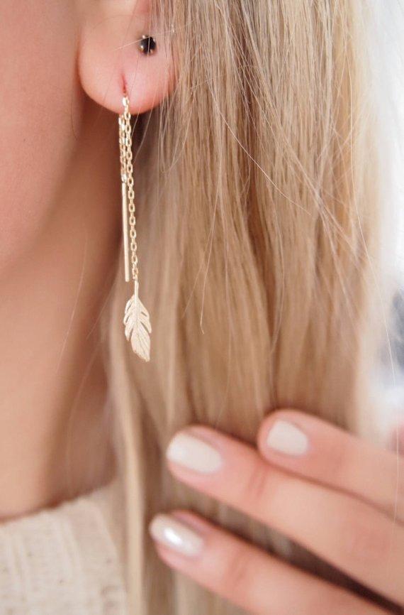 Boucles d'oreilles pendantes, feuilles - Boutique Etsy Créations by Anaïs