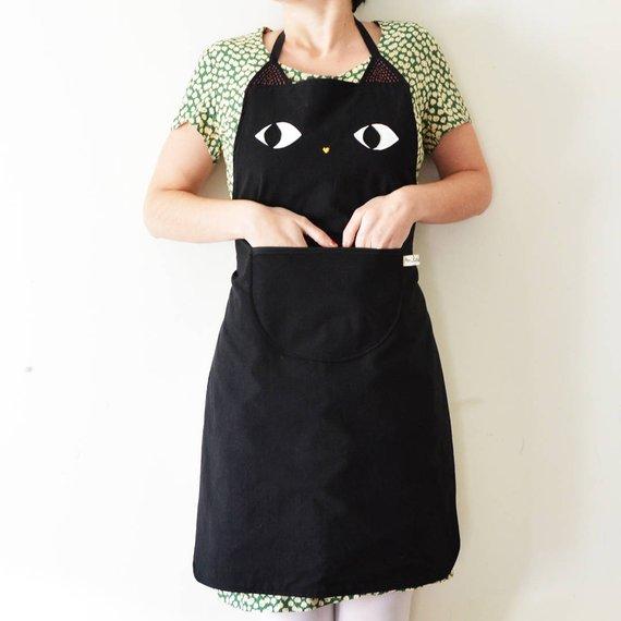 Tablier de cuisine en coton, chat noir - Boutique Etsy Milicancrelat