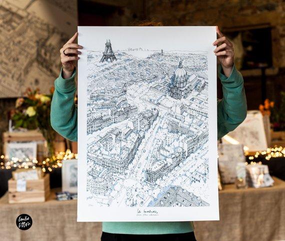 """Poster """"Invalides"""", Paris vu du ciel - Boutique Etsy Emilie Ettori"""