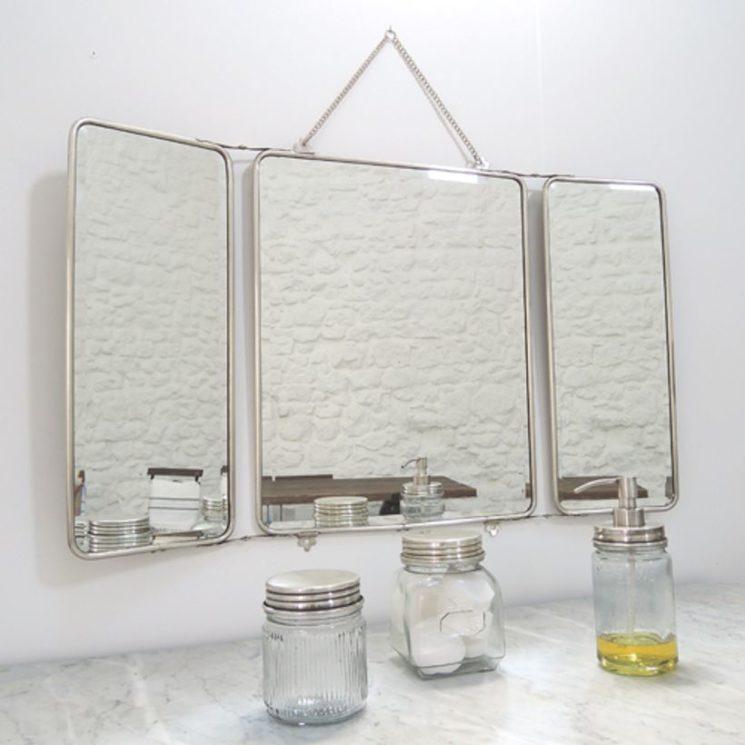 Miroir de barbier en nickel argenté, Chaumont - Maison Tilleul