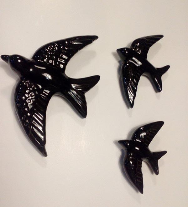 Hirondelles portugaises en céramique noire - Boutique Etsy Avedouda