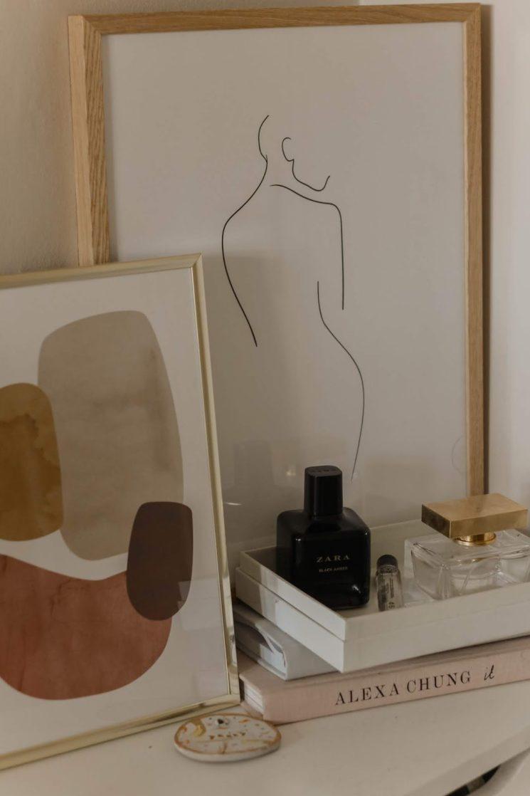 """Petit cadre avec esquisse de silhouette pour ambiance """"girly"""" chic"""