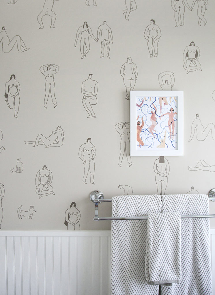 "Papier-peint ""Skinny Dippers"" de l'artiste Rebecca Clarke"