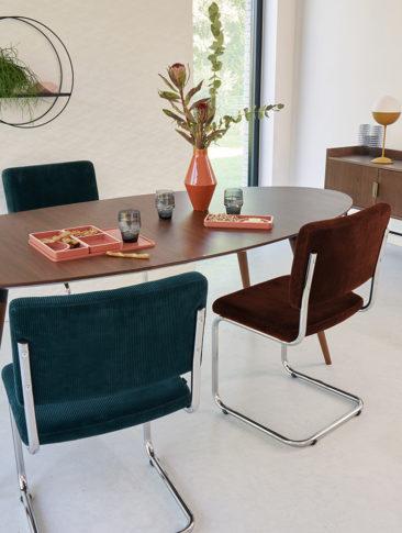 La redoute Intérieurs - Lot de 2 chaises cantilever en velours, Sarva
