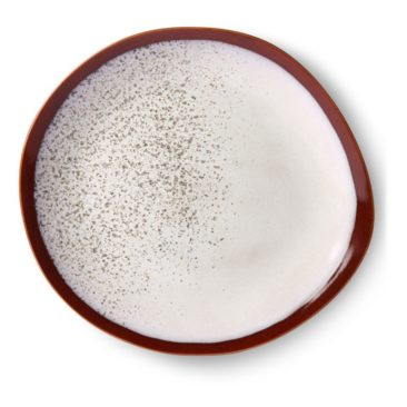 HK LIving - Assiette en céramique blanche mouchetée