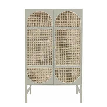 HK LIVING - Cabinet en bois et cannage, gris clair, Suncai