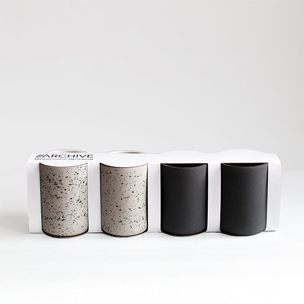 Set de 4 tasses à café, gris anthracite & moucheté - Archive Studio